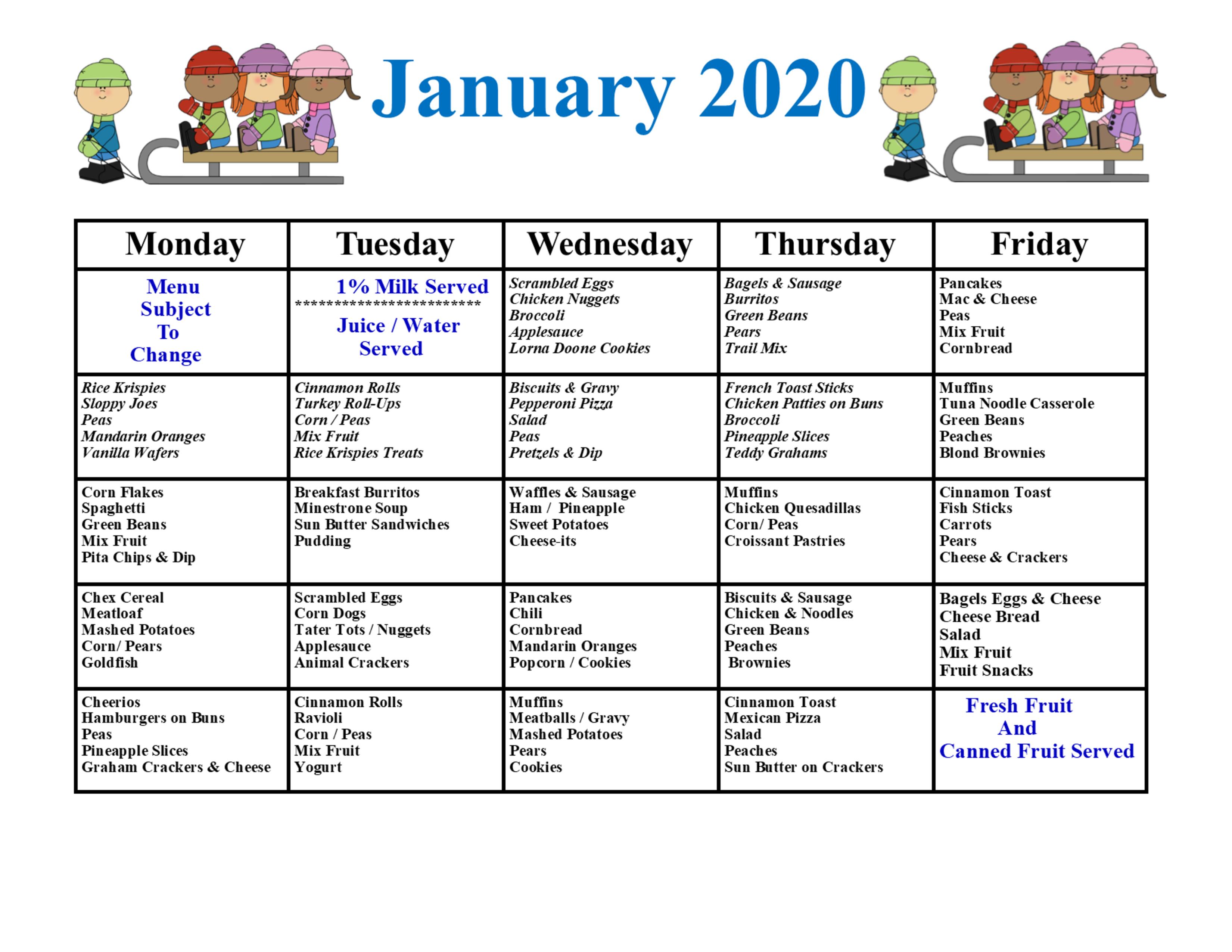 January Menu 2020