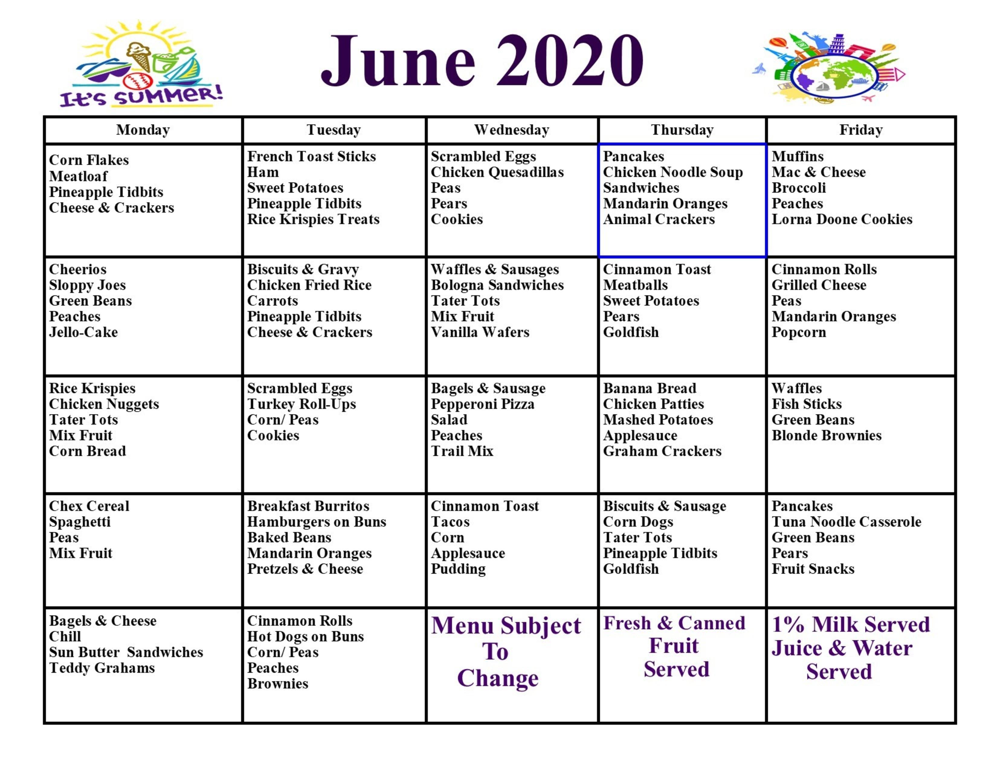 June Menu 2020