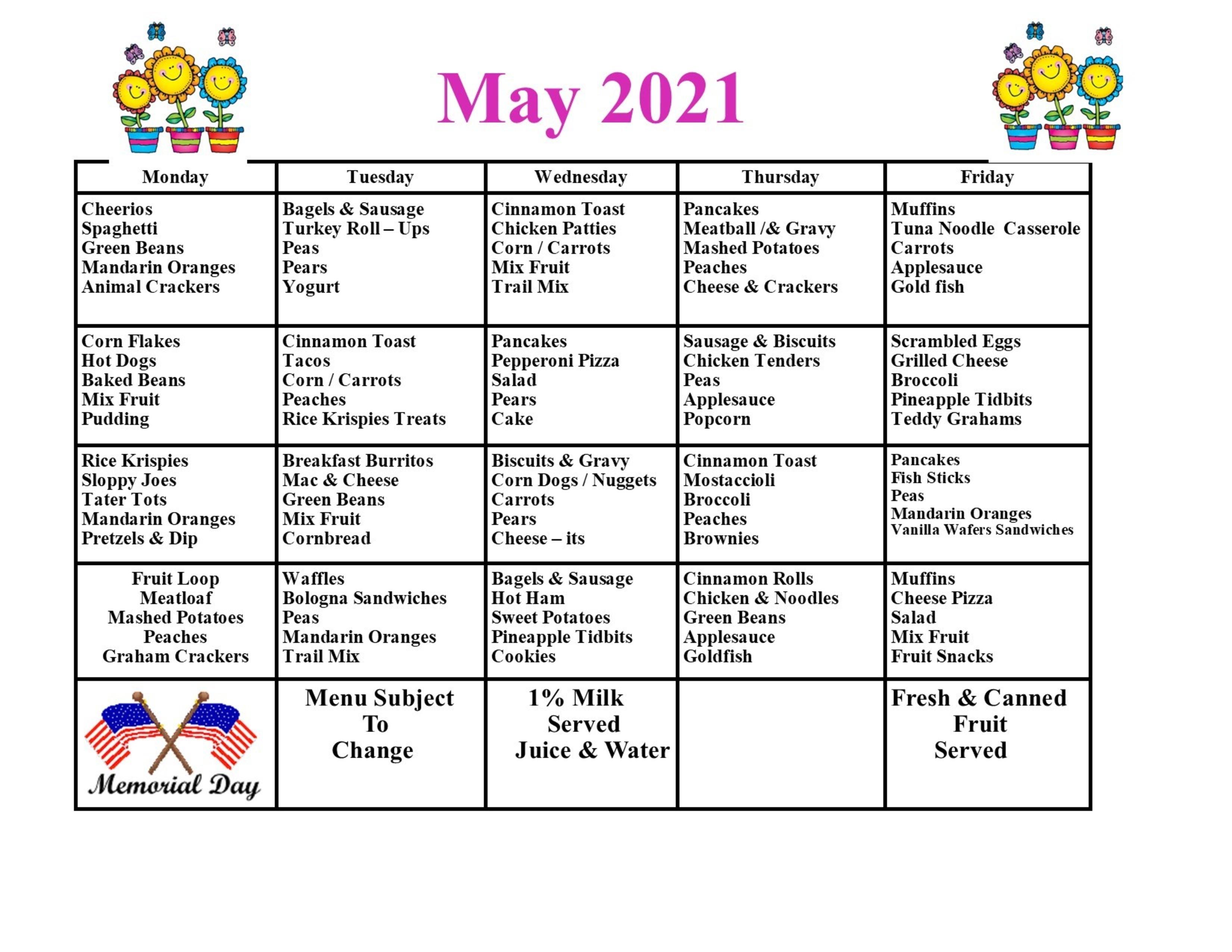 May Menu 2021