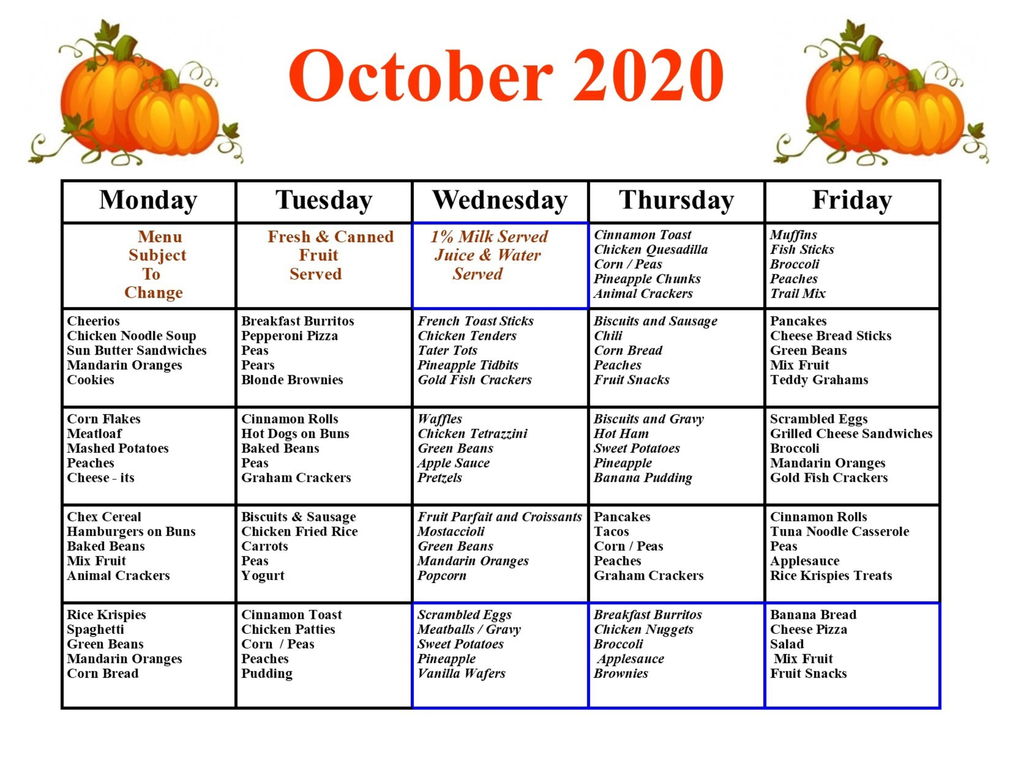 October Menue